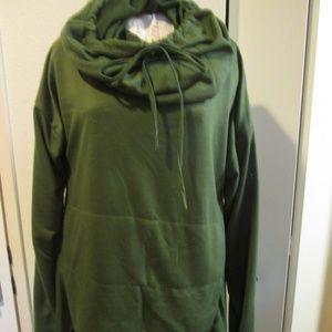 Tops - Khaki Green 3xl Tunic, Very long cowl neck, pouch